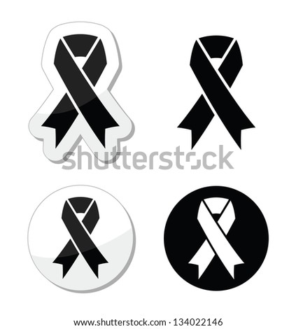 Black ribbon - mourning, death, melanoma symbol - stock vector
