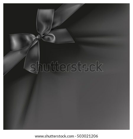 Black ribbon on black color background, illustration design.