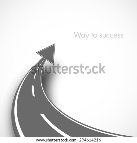 black road with arrow on isolated background with shadow illustration design successful business - stock vector