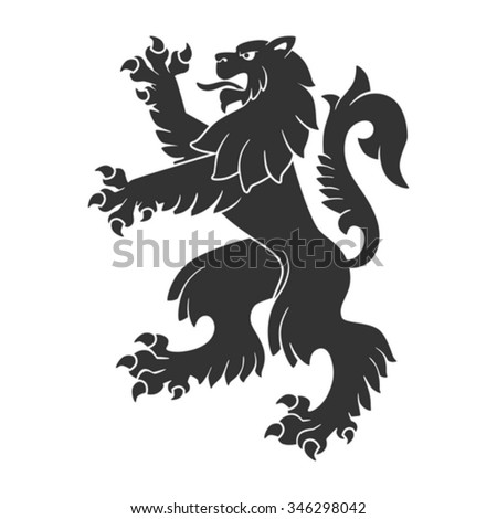 Black Roaring Lion For Heraldry Or Tattoo Design Isolated On White Background - stock vector