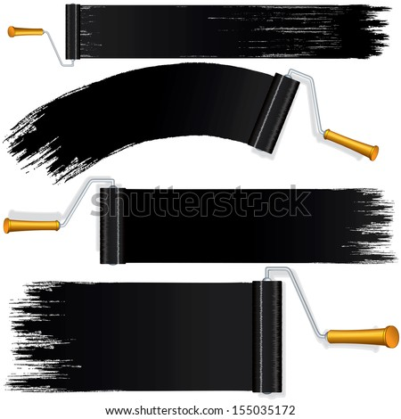 Black Roller Brush Painting on Wall. Various Paint Strokes on White Background. Vector Design Elements for Your Web Banner, Header or Text. - stock vector