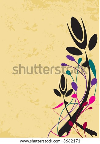 Black rose arrangement on grunge background - vector - stock vector