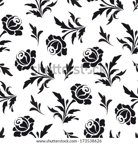 Black rose flowers on white, seamless monochrome floral pattern, vector background - stock vector
