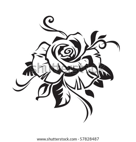 black rose on white background - stock vector