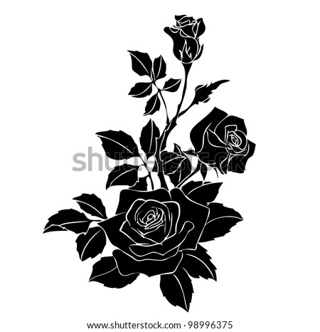 Black rose vector on white 98996375 shutterstock black rose vector on white voltagebd Choice Image