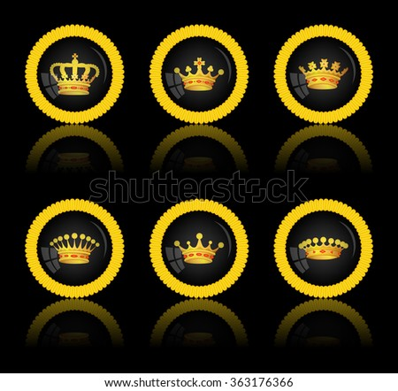 Black round button with a picture of a crown on black, vector, 10eps.