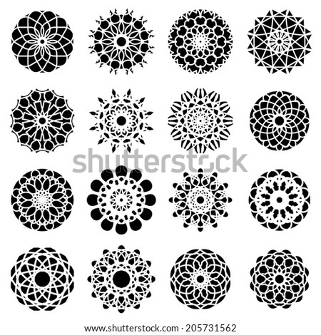 Black round east ornament set. Vector symbols - stock vector