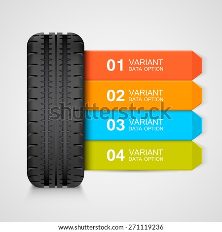 Black rubber tire colorful infographics. Vector illustration - stock vector
