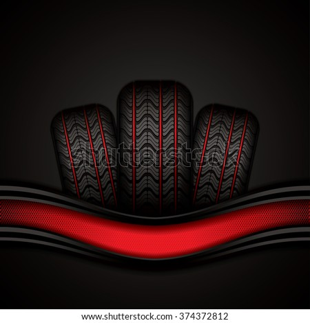 Black rubber tires on red background, vector illustration  - stock vector