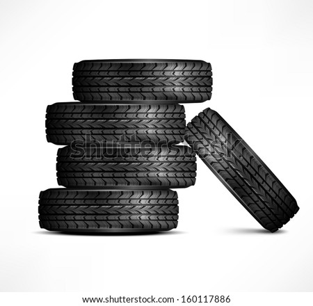 Black rubber tires on white background, vector illustration - stock vector