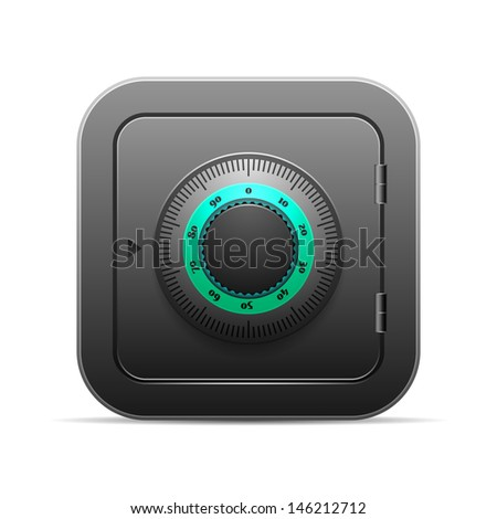 Black safe with coded lock - stock vector