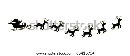 black Santa and deer - stock vector