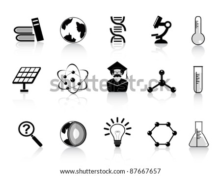 black science icons - stock vector
