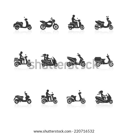 Black scooter motorcycle vehicles with people silhouettes icons set isolated vector illustration