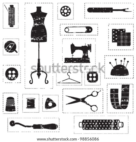 Black scratched sewing and tailoring related symbols - stock vector