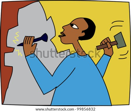 Black sculptor creating stone artwork with chisel - stock vector