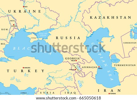 black sea and caspian sea region political map with capitals international borders rivers and