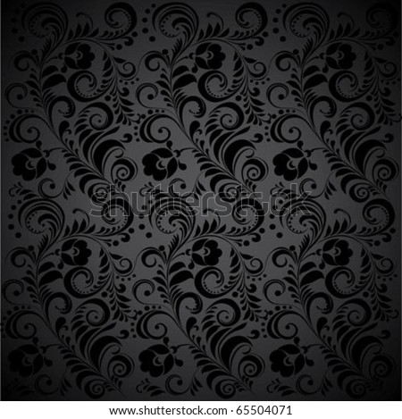 Black Seamless floral Pattern. - stock vector