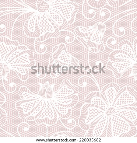 Black seamless flower pattern on pink background