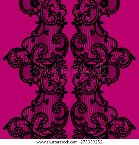 Black seamless lace with a floral ornament, template