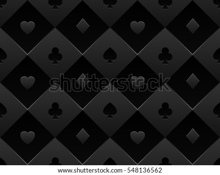 Black Seamless Pattern Fabric Poker Table. Minimalistic Casino Vector 3d  Background With Texture Composed From