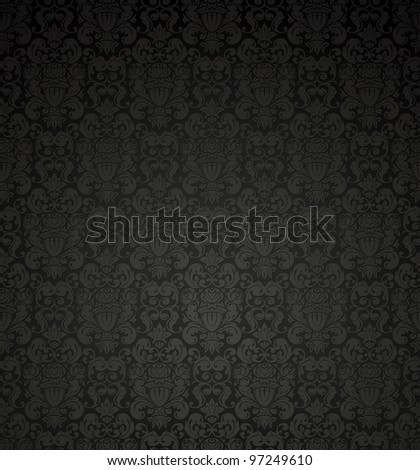 Black seamless pattern, vector - stock vector