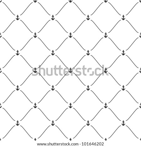 Black seamless pattern with anchor symbol, 10eps. - stock vector