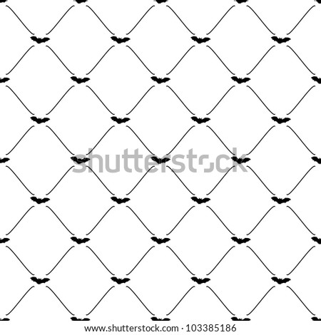 Black seamless pattern with bat symbol, vector, 10eps. - stock vector