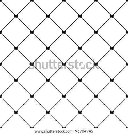 Black seamless pattern with butterfly symbol. - stock vector