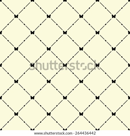Black seamless pattern with butterfly symbol on beige, vector, 10eps. - stock vector