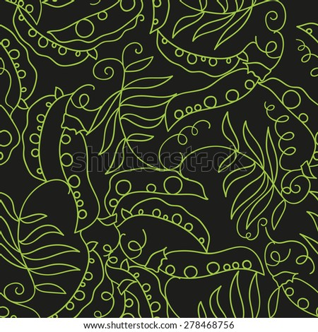 black seamless pattern with contour peas - stock vector