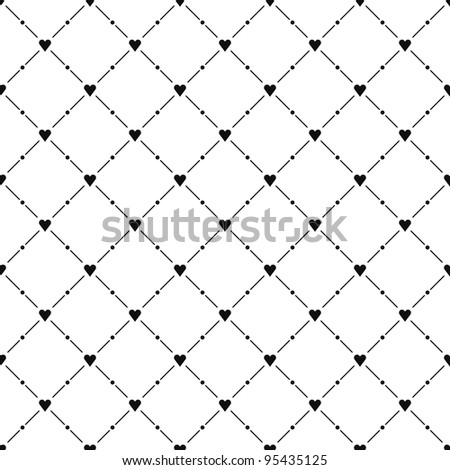 Black seamless pattern with heart symbol. See more vector illustrations in my gallery