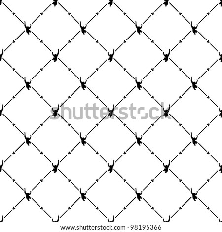 Black seamless pattern with monkey symbol. - stock vector