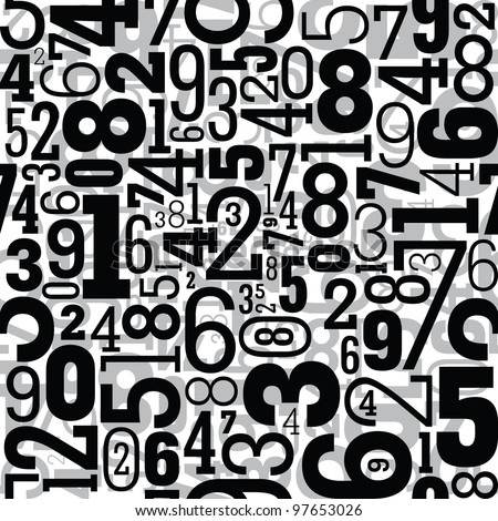 Black seamless pattern with numbers - stock vector