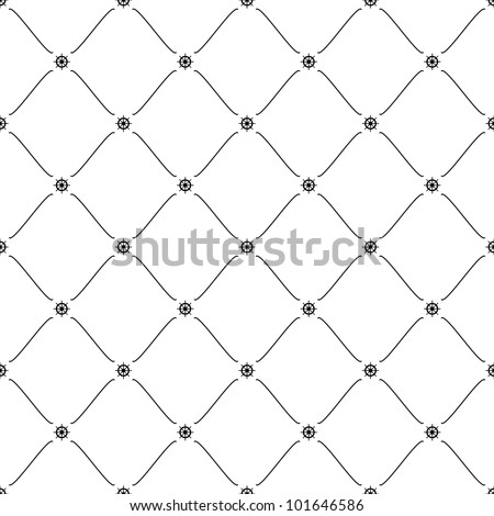 Black seamless pattern with ship wheel symbol, 10eps. - stock vector
