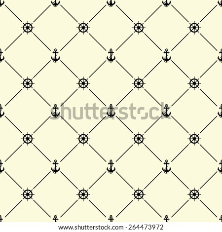 Black seamless pattern with ships wheel and anchor symbol on beige, 10eps. - stock vector