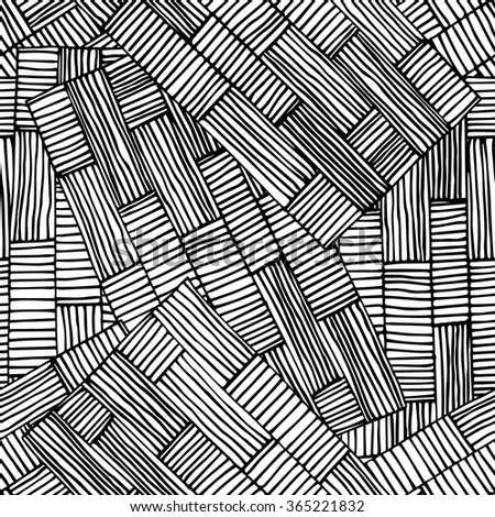 Black seamless rectangles line pattern vector illustration.Hand drawn for adult anti stress. Coloring page with high details  for relax and meditation.