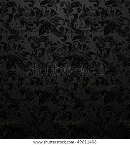 Black Seamless wallpaper pattern, vector - stock vector