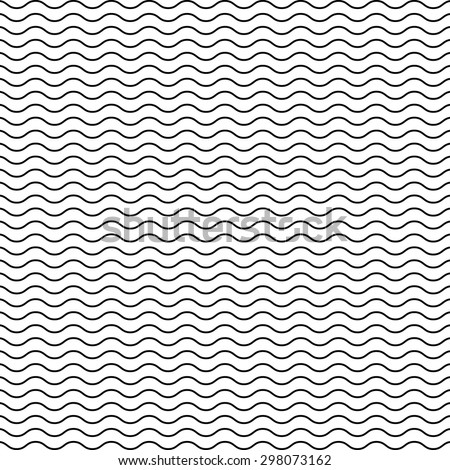 Black seamless wavy line pattern - stock vector