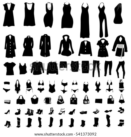 Black set of women fashion clothing vector