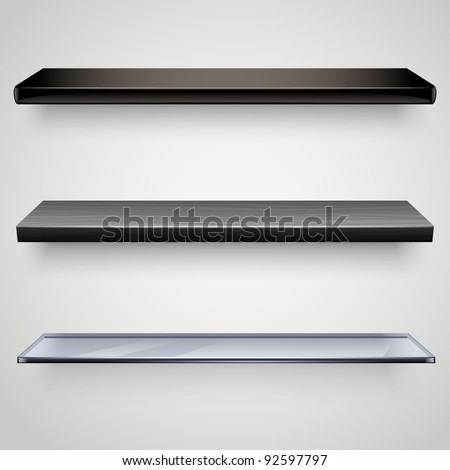 black shelves - stock vector