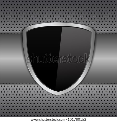 Black shield on metal background, vector eps10 illustration - stock vector