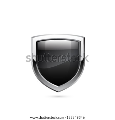 Black shield. Vector - stock vector
