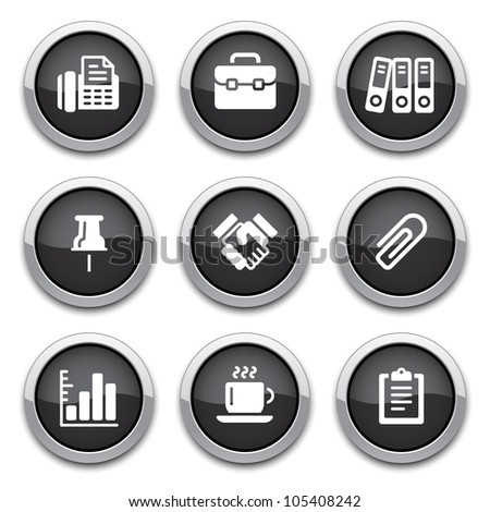 black shiny business & office buttons - stock vector
