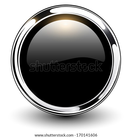Black shiny button with metallic elements, vector design. - stock vector