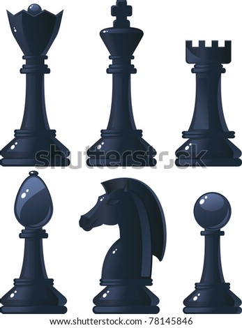 black shiny chess pieces - stock vector