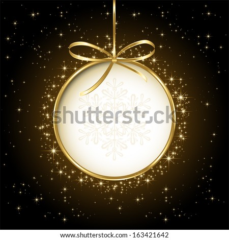 Black shiny Christmas background with bauble, illustration.