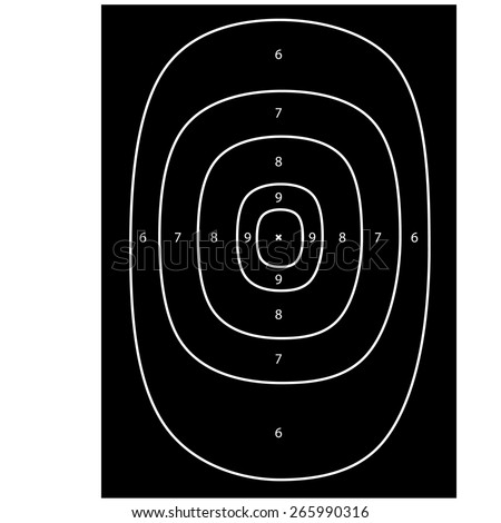 Black shooting target vector, shooting range, bulls eye, gun target - stock vector