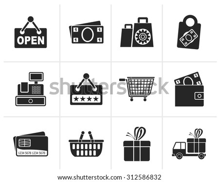 Black shopping and retail icons - vector icon set - stock vector