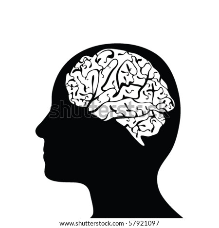 Black side silhouette of human head with cutaway showing brain, isolated on white background.